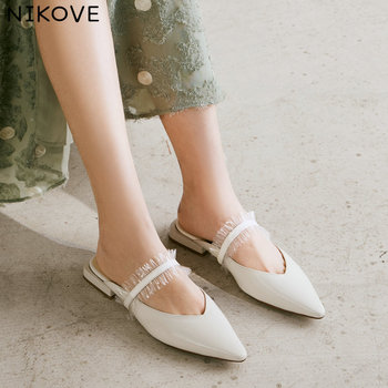 NIKOVE 2020 Summer Sandals Women Pumps Shoes Leather+PU Slingback Flat Heel Platform Pointed Toe Casual Fashion Shoes Size 34-39