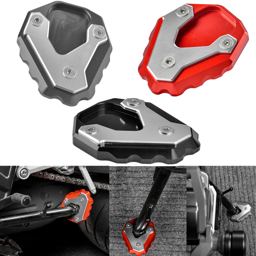 Hunter-Bike Motorcycle Kickstand Extension Pad Aluminum Foot Side Support Stand Plate For Honda CB500X 2019 2020 Red