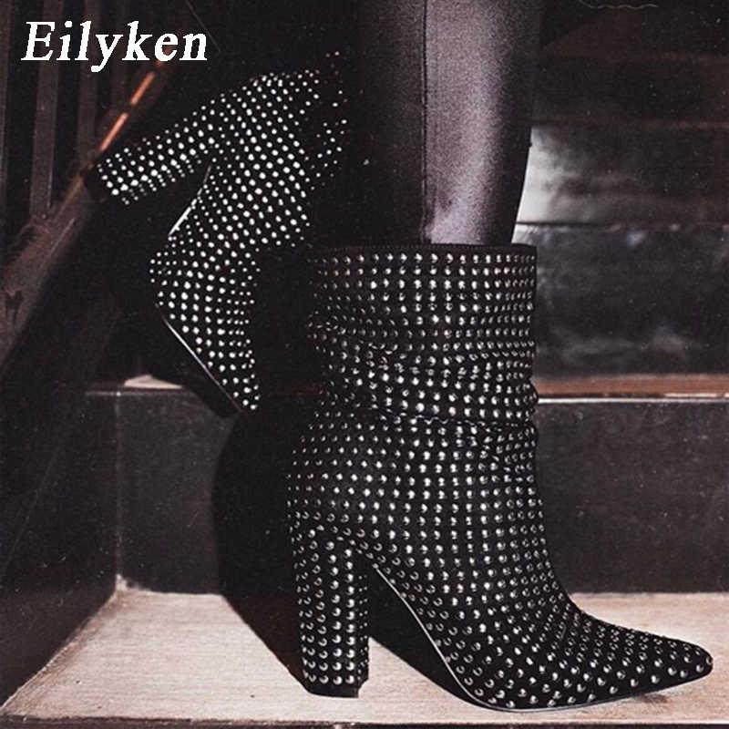 EilyKen 2020 son perçin Chelsea çizme kadın yarım çizmeler kış patik yüksek kare topuk ayakkabı kadın çizme boyutu 41 42
