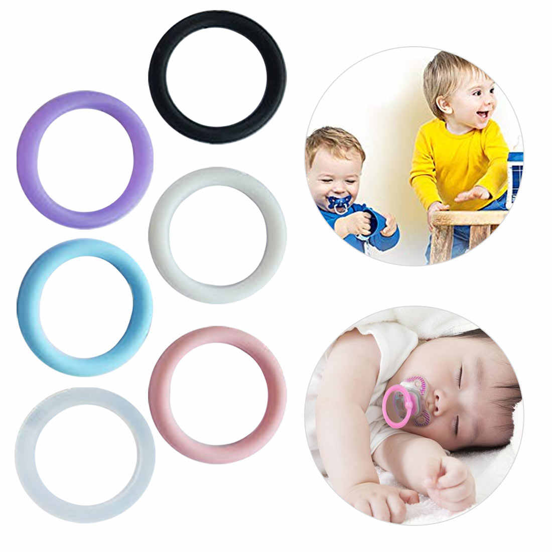 10pcs BPA Free Clear Silicone O Rings DIY Baby Dummy  Napkin Pacifier Chain Clips Adapter Holder O Rings Food Grade
