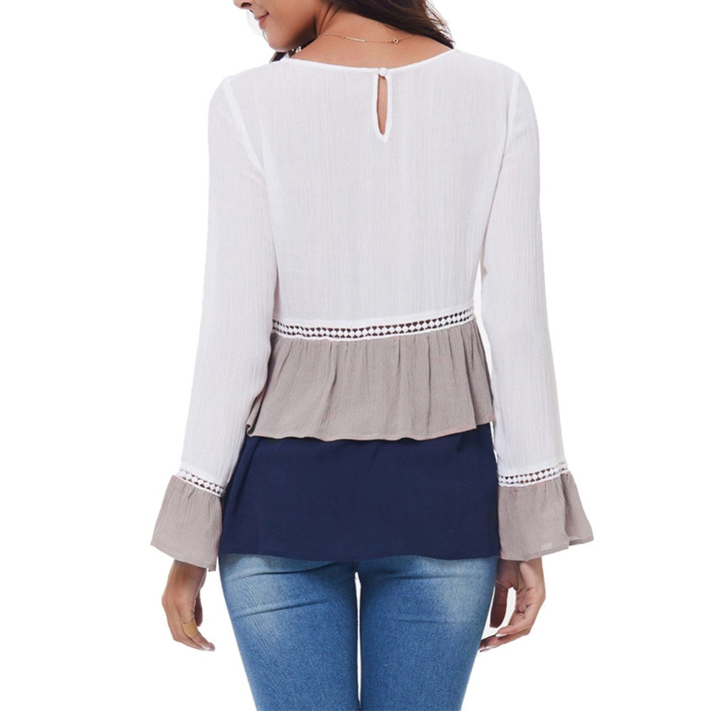 2020 New Fashion Shirts Women Blouses Casual Work Long Bell Sleeve O Neck Flounce Tiered Chiffon Splice Shirts Lace Hollow