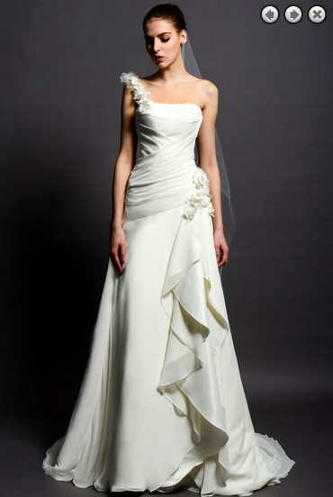 Free Shipping 2016 Fashion Sweetheart White Long Princess One Shoulder Intricate Plus Size Chiffon Bridal Gowns Wedding Dresses