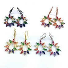 Wholesale Copper Micro Pave CZ Flower Shape Charm Earrings In 4 Colors Top Quality Plating of 5 Pairs or 10