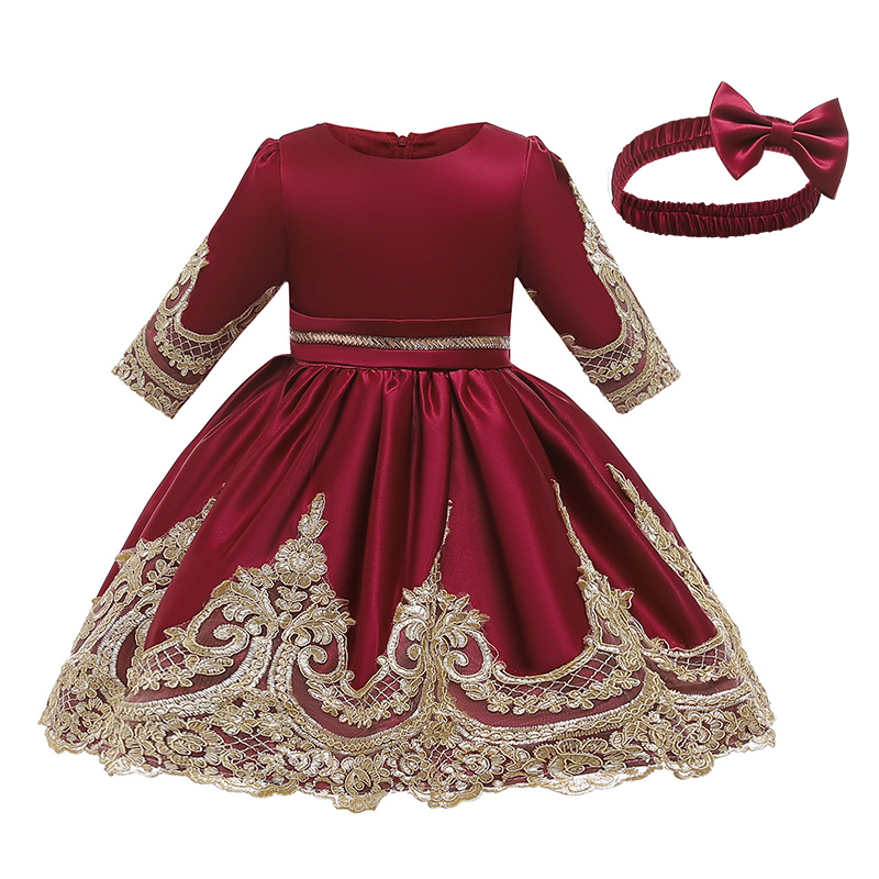 Children's new autumn and winter long-sleeved princess dress baby girl new year costume 1-8 years children's wear