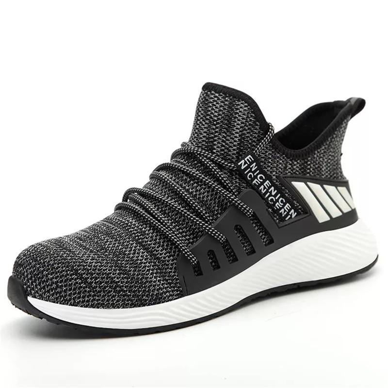 Новая Рабочая защитная обувь, модные кроссовки, ультра-светильник, мягкая подошва, мужские, дышащие, не разбивающиеся, промышленные, со стальным носком, рабочие ботинки - Цвет: gray