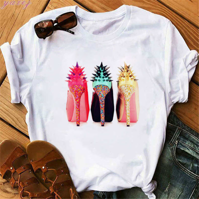 High-heeled Shoes Printing Short-sleeved Casual Shirts T Shirt Oversize Women Summer Top Tees Woman Tshirt Tops T-shirt Female