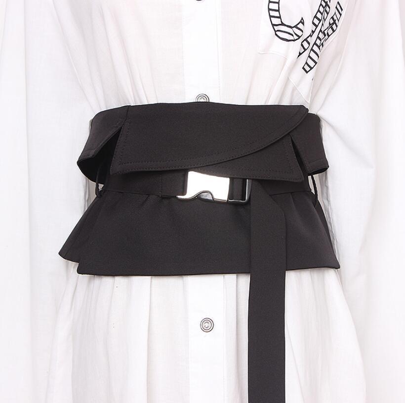 Women's Runway Fashion Black Fabric Cummerbunds Female Dress Corsets Waistband Belts Decoration Wide Belt R2615