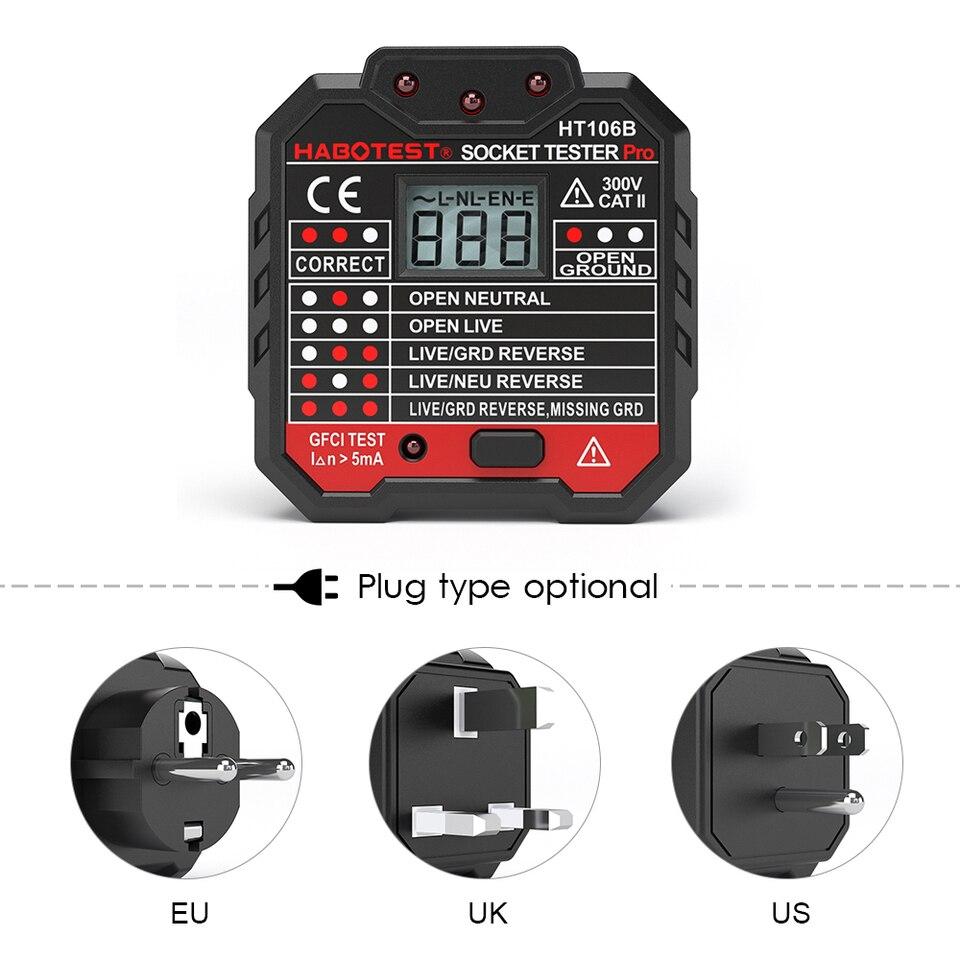 UK rete di alimentazione elettrica presa plug-in tester test RILEVATORE di guasto di controllo di sicurezza