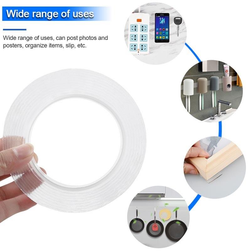 Multi Function Nano Magic Tape 1/2/3/5m Gecko Tape Double Sided Sticky Gekkotape Adhesiva Reusable Tape Loop Disks Glue Gadget