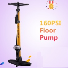 купить 160PSI High Pressure Floor Pump Bike Bicycle Floor Pump with Pressure Gauge For Presta and Schrader Valve дешево