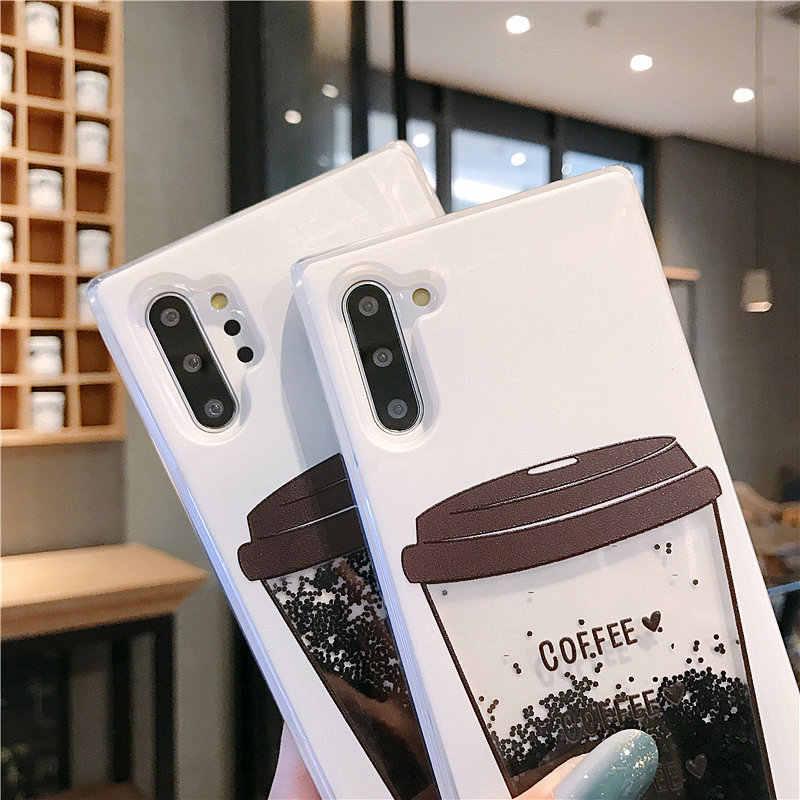 קפה כוס נוזל חול טובעני סיליקון כיסוי עבור samsung galaxy הערה 10 S8 S9 S10 בתוספת J3 J5 J7 2016 A3 A5 a7 2017 A6 A8 2018 מקרה