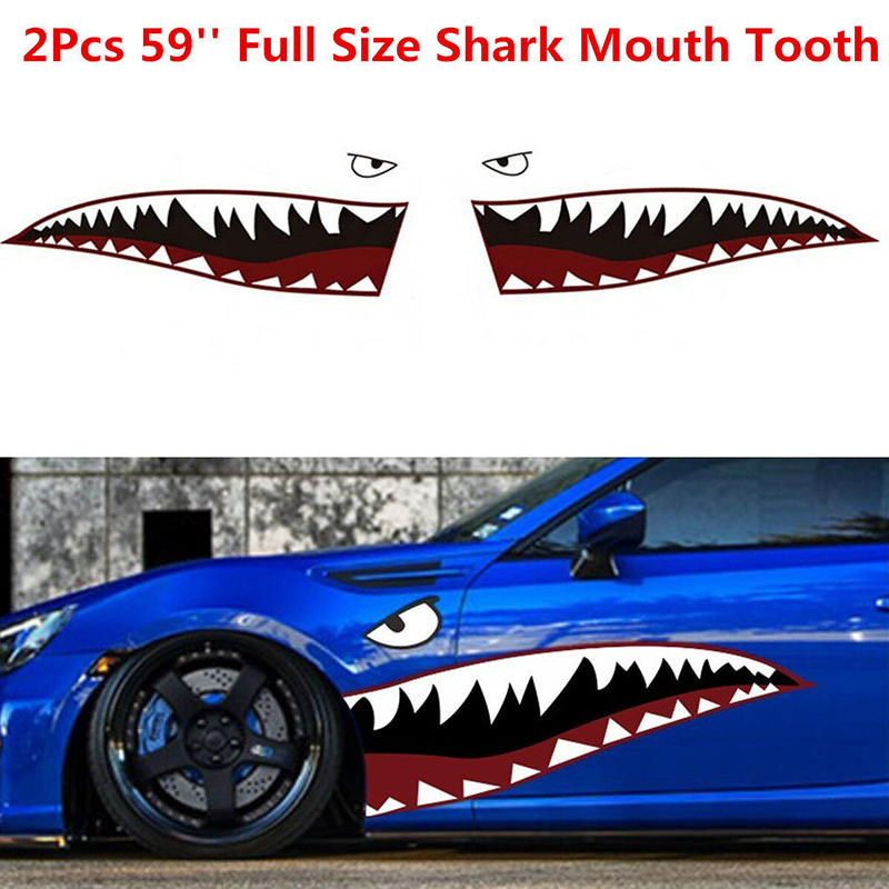2PCS Top Sales  Shark Mouth Teeth Graphic Vinyl Car Sticker Decal Graphics Decor