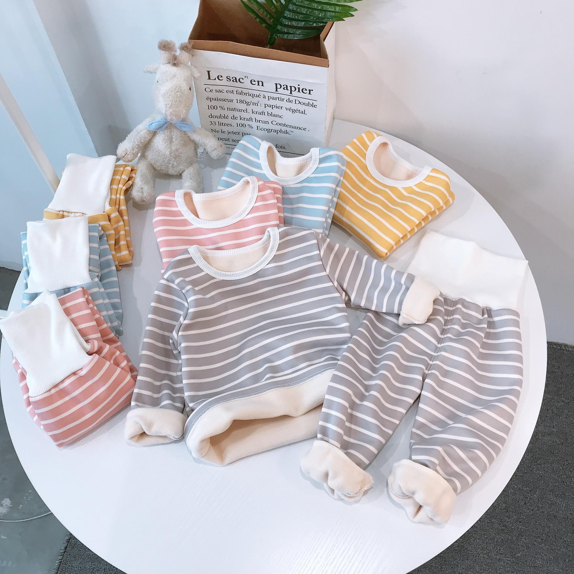 Children Pajamas Sets Baby Boys Girls Clothing Sweatshirt Waist Pants Set Toddler Warm Autumn Winter Outfits Kids Suit Clothes 1
