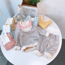 Children Pajamas Sets Baby Boys Girls Clothing Sweatshirt Waist Pants Set Toddler Warm Autumn Winter Outfits Kids Suit Clothes cheap JCHAO KIDS Cotton Microfiber CN(Origin) striped Round Neck Unisex Full Regular 90-120 Casual Fits true to size take your normal size