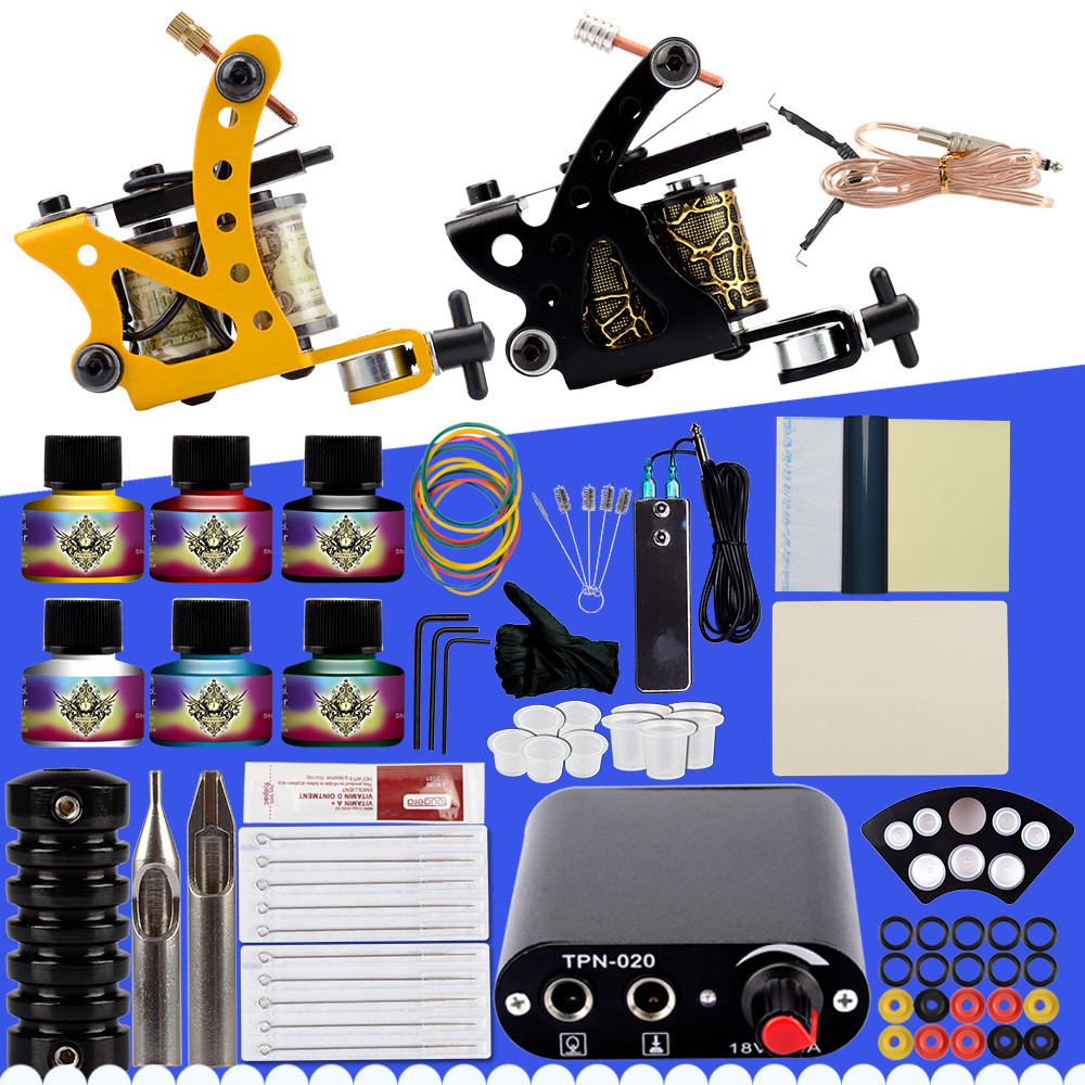 Complete Tattoo Kit Two Machine Gun Set 6 Colors Inks Black Power Supply Accessories Permanent Makeup Professional Tattoo Set