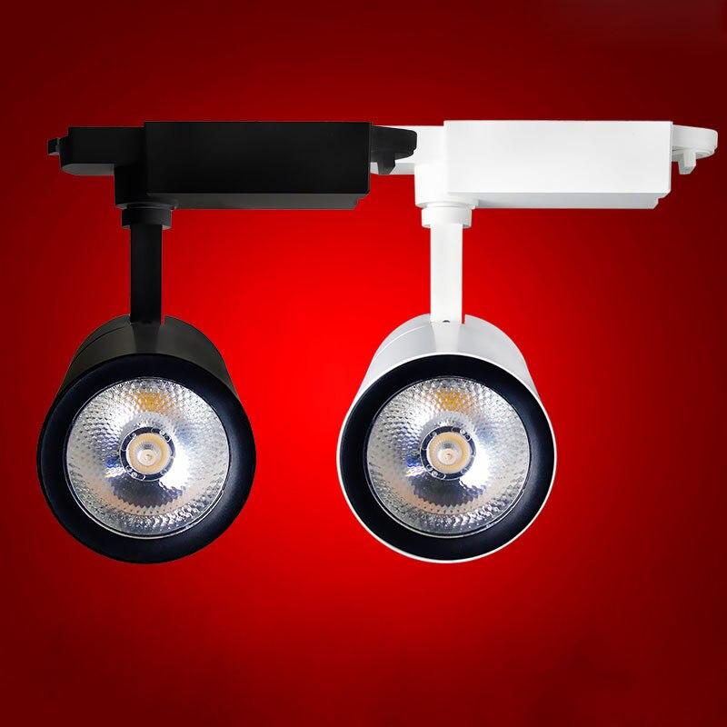 Fanlive 20pcs Focos LED Techo Rail แสง 15w 20w 30W COB LED ไฟโคมไฟติดผนัง spotlight ติดตาม AC 220V 110V