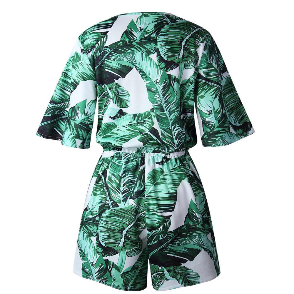 Mono estampado Floral de moda Primavera Verano Streetwear mujer mono Macacao femenino Casual ropa de playa Tops en general