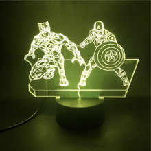Avengers dekoracja kreatywna lampa LED 7 kolor Batman Superman Iron Man Spider-Man kapitan ameryka 3D lampka nocna Marvel Hero prezent(China)