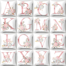 Fundas de cojín de letra rosa, fundas de almohada a la moda de sofá, almohadas decorativas para sofá, cojines de almohada de poliéster