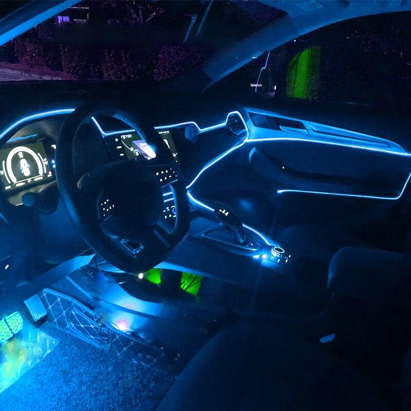 panel de luz decoraci/ón de ambiente ne/ón interior brillante con luz fr/ía y encendedor de cigarrillos 1 m rosso Tira de luces para interior de coche tira de luz de ne/ón fr/ía