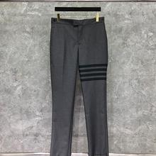 2021 Fashion TB THOM Brand Pants Men Casual Suit Pants Gray Business Striped Spring And Autumn Formal Trousers ins