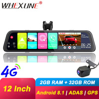 WHEXUNE 2GB RAM 32GB ROM Android 8.1 ADAS 4G WIFI GPS Navi Bluetooth Car DVR Mirror 1080P DashCam Camera Registrar Video Recorde