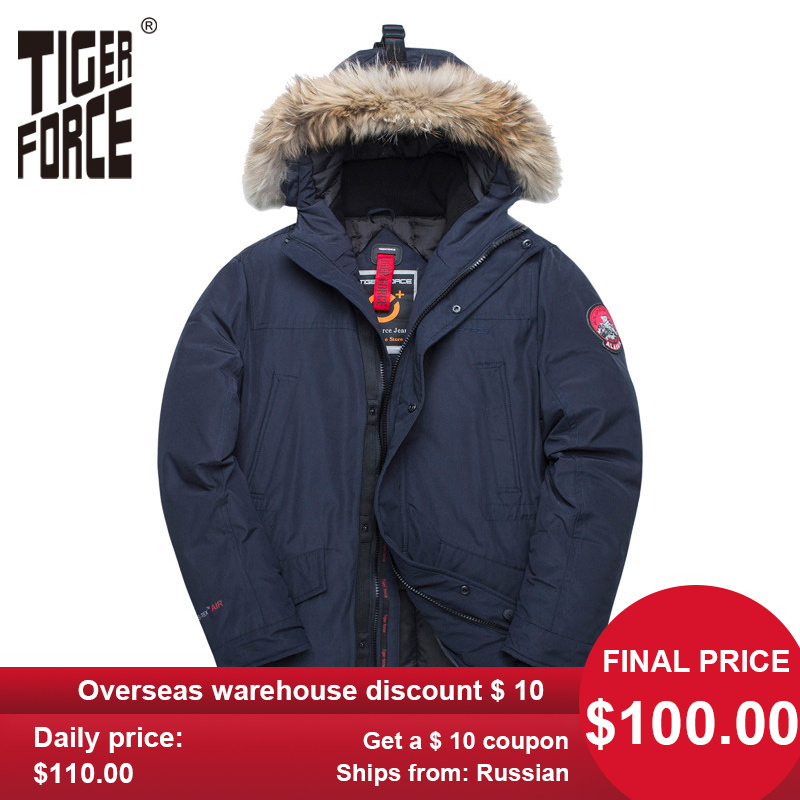 TIGER FORCE Alaska Winter Jacket For Men Parka Waterproof Thicken Coat  Jackets With Real Fur Hood Male Snowjacket Outwear
