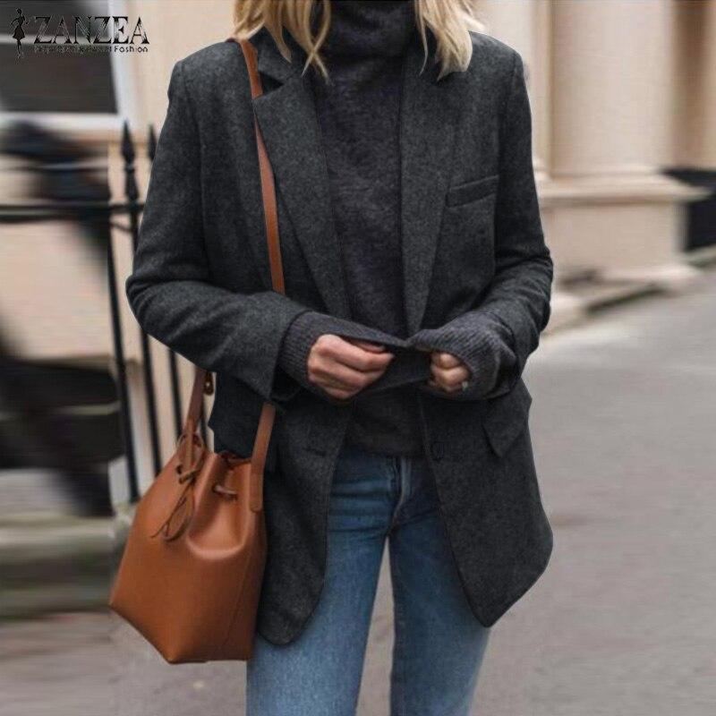 2019 Plus Size ZANZEA Winter Blazer Women Solid Lapel Long Sleeve Elegant Work Office Blazers Warm Jackets Femme Coats Outwear