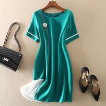 2021 Summer New In Women Dress Temperament Lady Color Block A Line Bright Line Short Sleeve Beading Brooch Mini Short Dresses