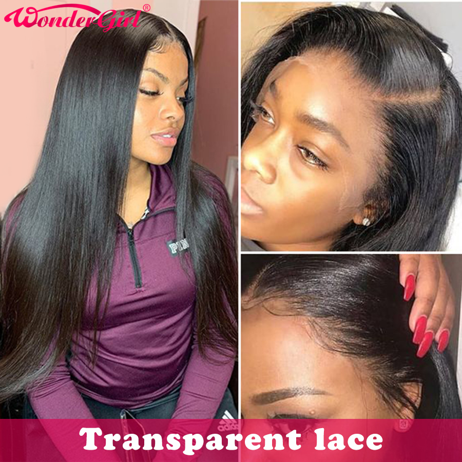 Transparent Malaysian Straight Lace Front Wig Remy Glueless Lace Front Human Hair Wigs With Baby Hair Pre Plucked Wonder Girl