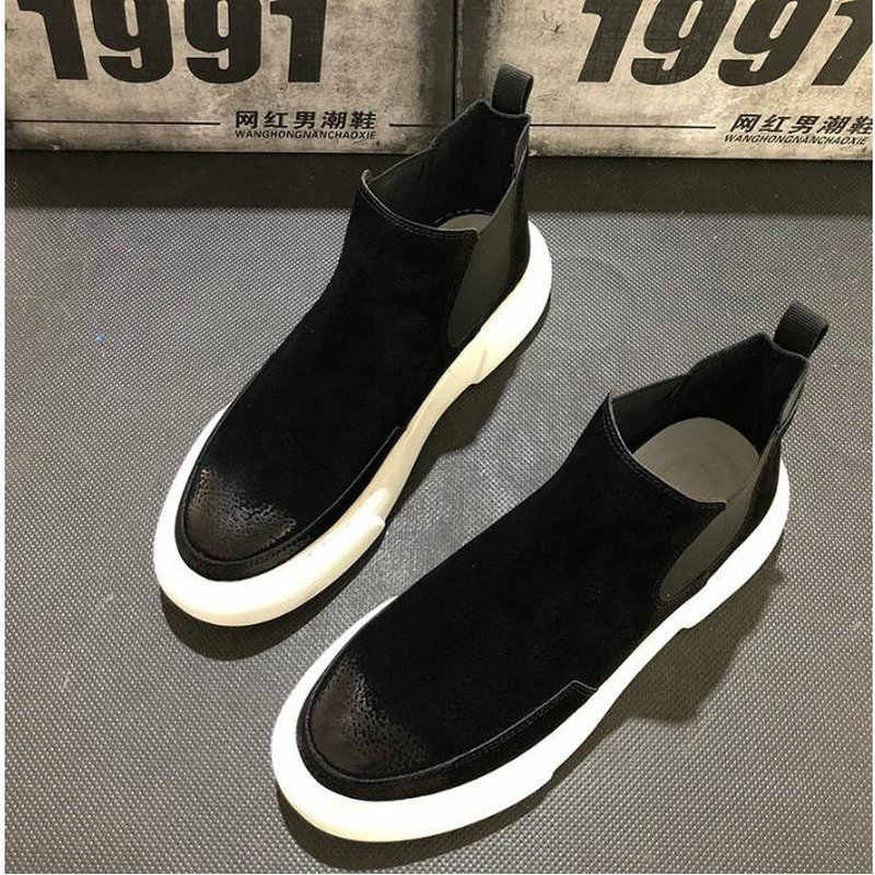 NEW Brand suede Leather high Quality design Slip on Motorcycle Men Chelsea Boots Fashion Men's  flats shoes Ankle Boots VV-13