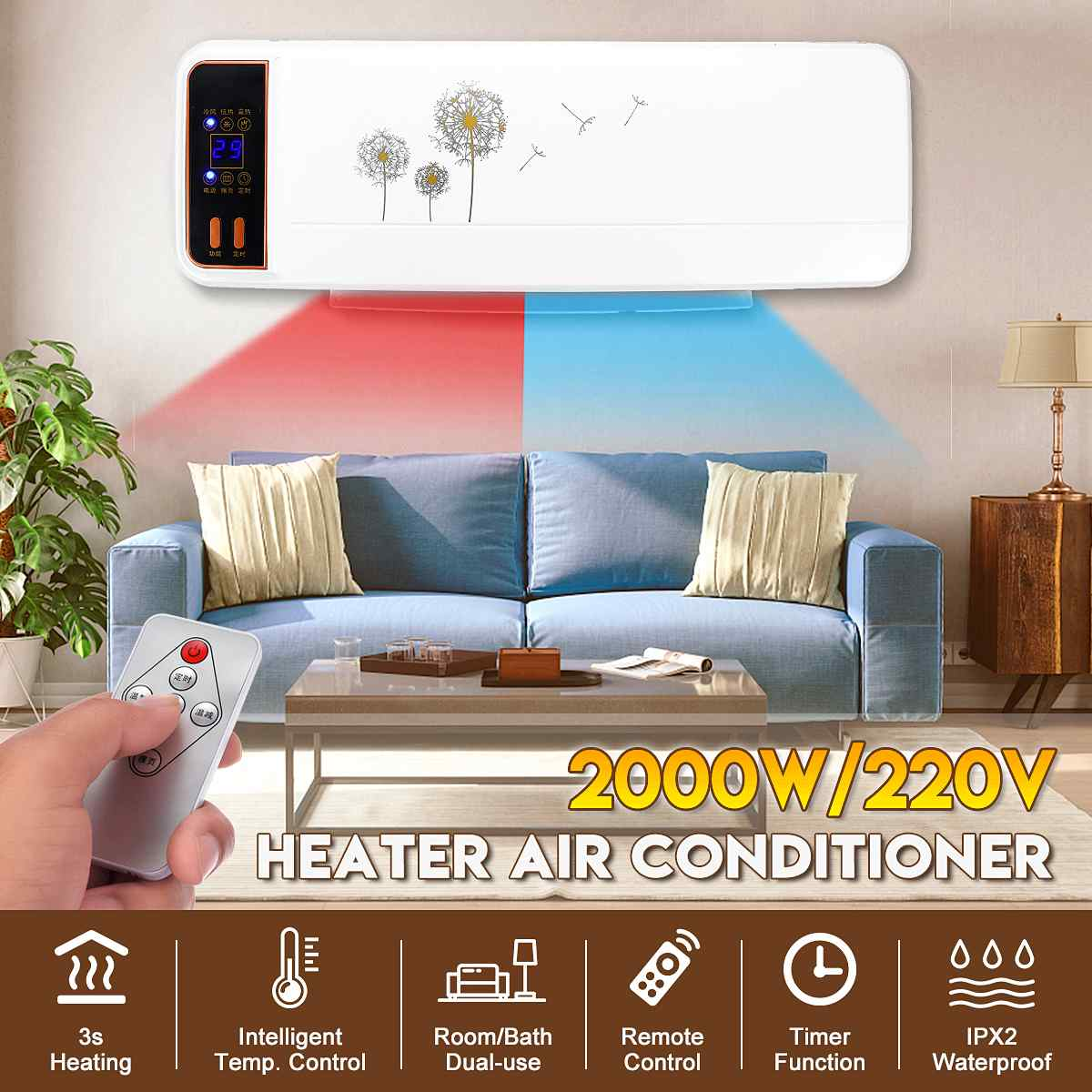 220V 2KW Wall Mounted Air Conditioner Cooler Fan Heater Heating Cooling Waterproof Living Room Bathroom Timing Air Conditioning