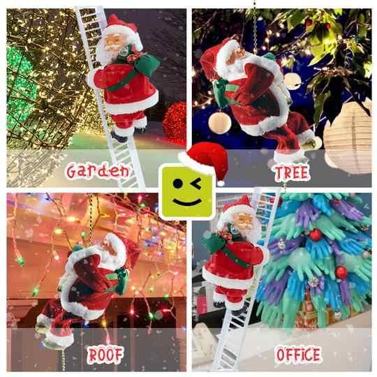 Śmieszne boże narodzenie santa Claus elektryczny wspinać się po drabinie wisząca dekoracja na boże narodzenie ozdoby choinkowe Party prezenty dla dzieci