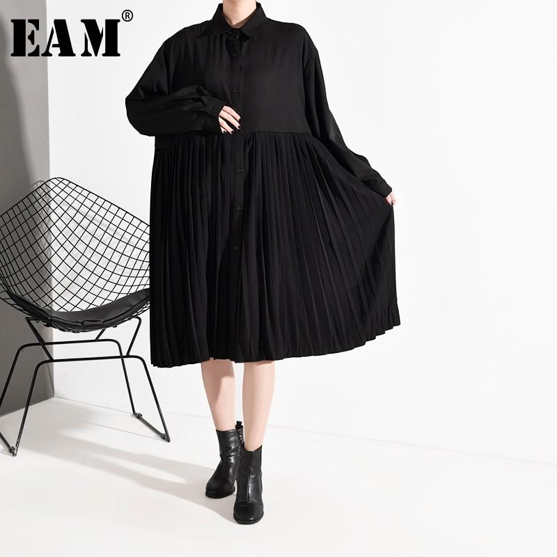 [EAM] Women Black Pleated Split Big Size Shirt Dress New Lapel Long Sleeve Loose Fit Fashion Tide Spring Autumn 2020 1R408