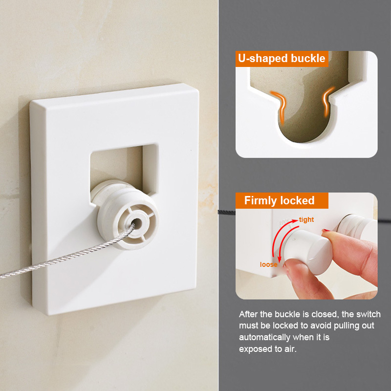 Retractable Indoor Clothes Wall Hanger Magic Drying Rack Balcony Bathroom Invisible Clothesline MU8669|Clotheslines| |  - title=
