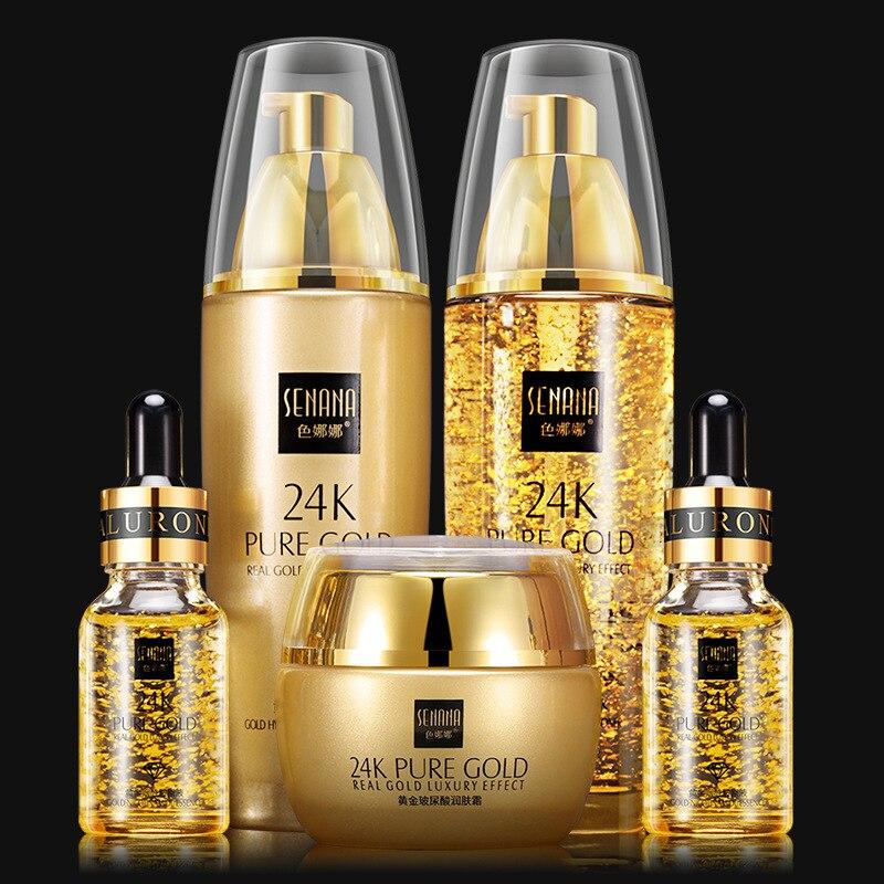 SENANA 24K or ensembles de soins de la peau hydrate rétrécit le contrôle de l'huile des pores 24K or Toner crème pour le visage émulsion ensembles d'essence du visage