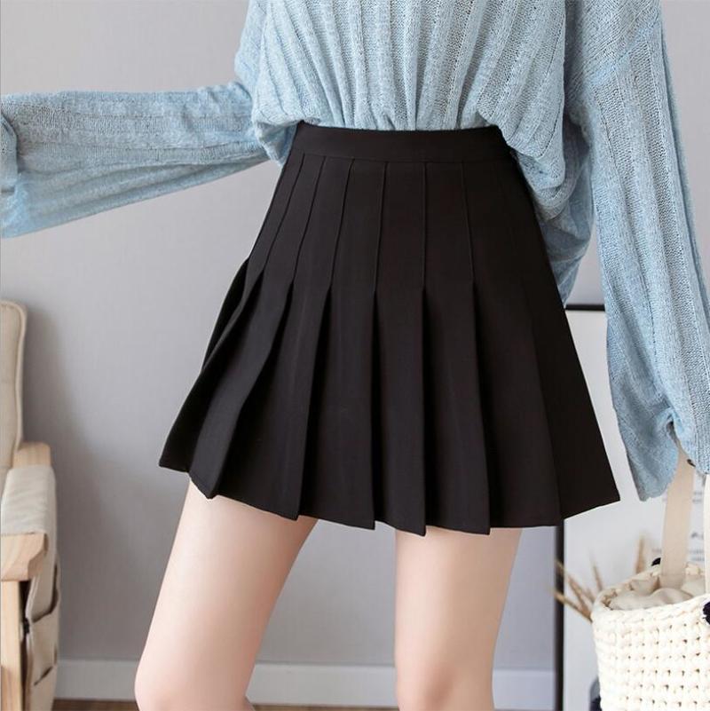 Sexy women short skirt cute female pleated skirt spring and autumn high waist solid color mini skirt summer female skirt 2