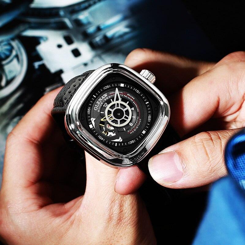 Glenaw Design Brand 2021 Men Hollow Automatic Black Mechanical Watch GMT  Top Brand Reloj Hombre Watches Waterproof 2