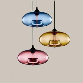 Modern Nordic style 7 Color Glass Pendant Lamp industrial decoration hanging Lights Kitchen Restaurant chandelier YHJ011013