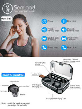 Bluetooth 5.0 Earphone True Wireless EarBuds IPX7 Waterproof Stereo Headset 6000mAh Power Bank Phone Charge For iPhone 6s 7 Sony