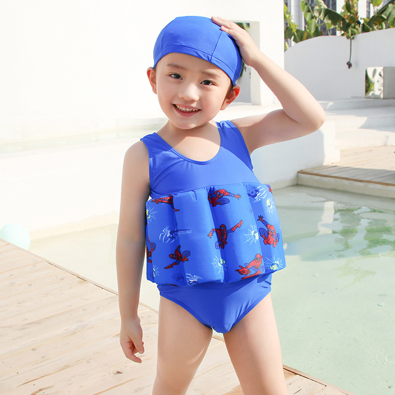 CHILDREN'S Buoyancy Swimsuit BOY'S BABY'S Bathing Suit Baby CHILDREN'S Spider-Man One-piece Floating Training Tour Bathing Suit