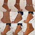 Браслеты на ногу женские в богемном стиле, анклеты с ракушками, сердечками, летние ювелирные украшения для девушек, Черепаховые браслеты на ...