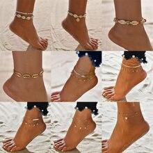 Bracelets de cheville en coquillage et cœur pour femmes, style bohème, tortue, pieds nus, sur les jambes, chaîne, bijoux, cadeau, été