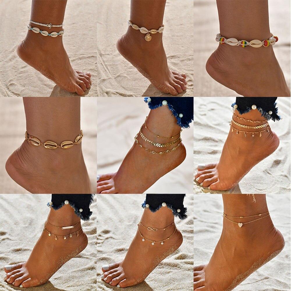 Female Bohemian Shell Heart Summer Anklets For Women Tortoise Ankle Bracelets Girls Barefoot on Leg Chain Jewelry Gift