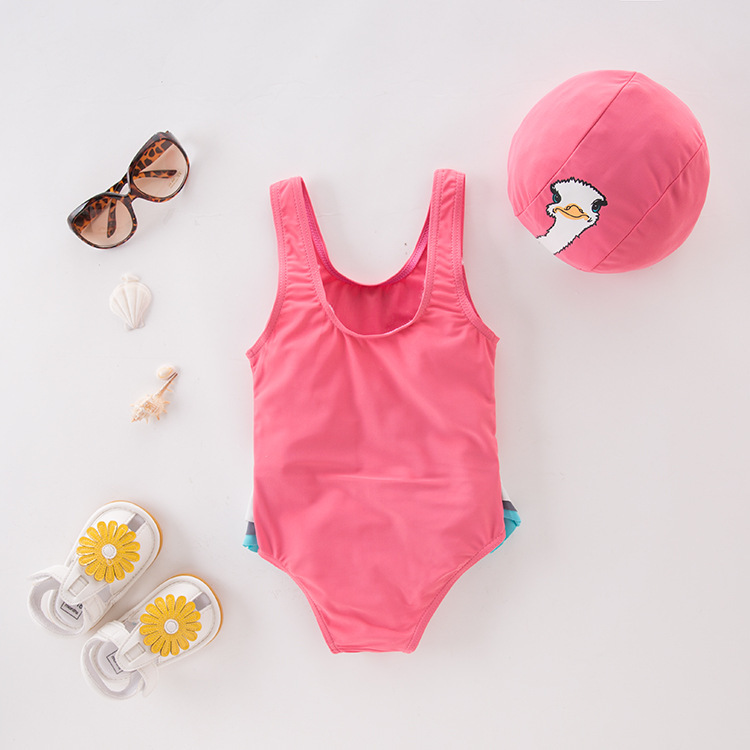 Girl'S One-piece Swimming Suit Pink Ostrich With Hat-Children Hot Springs Bathing Suit