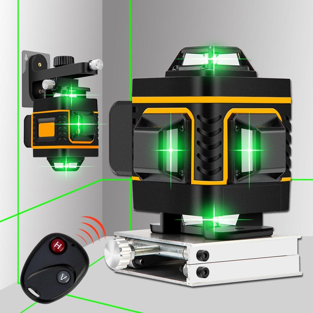 16 linhas/12 linhas 4d laser remoto sem fio, autonivelamento 360 cruzamento horizontal e vertical super poderoso nível laser verde,