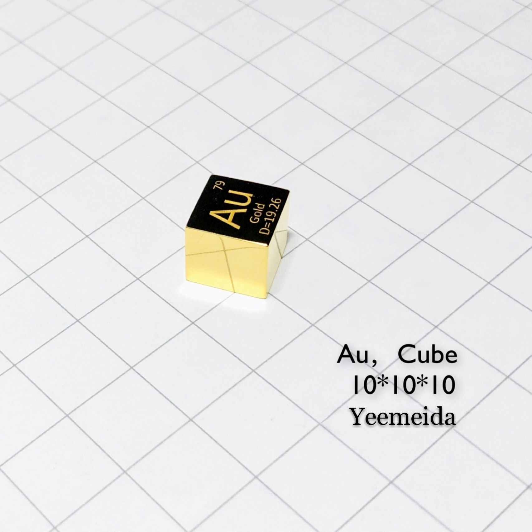 Free shipping Gold metal cube 9999 pure mirror polished 10mm density ingot Au periodic element table / pellet for research