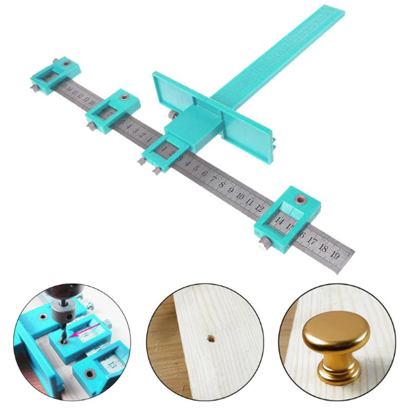 1set Drill Punch Locator Woodworking Drill Guide Furniture Adjustable Drilling Jig