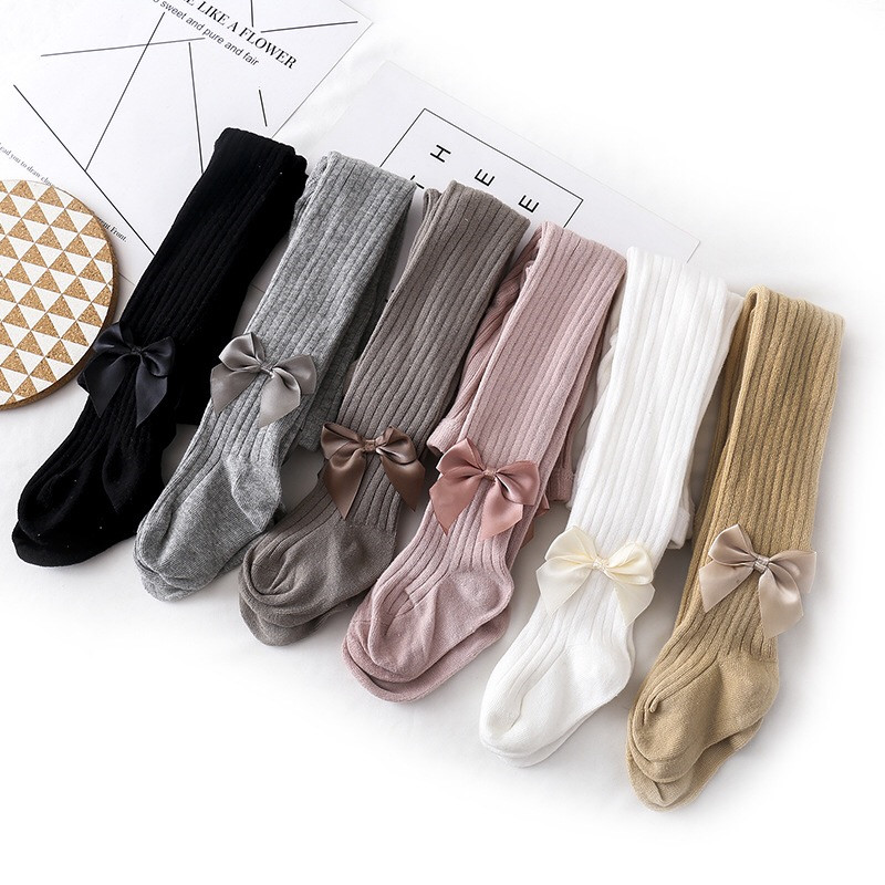 Cute Bowknot Tights for Girls Knitted Cotton Winter Girls Tights High Waist Children Pantyhose Baby Girl Toddler Tights 0-8 Yrs 1
