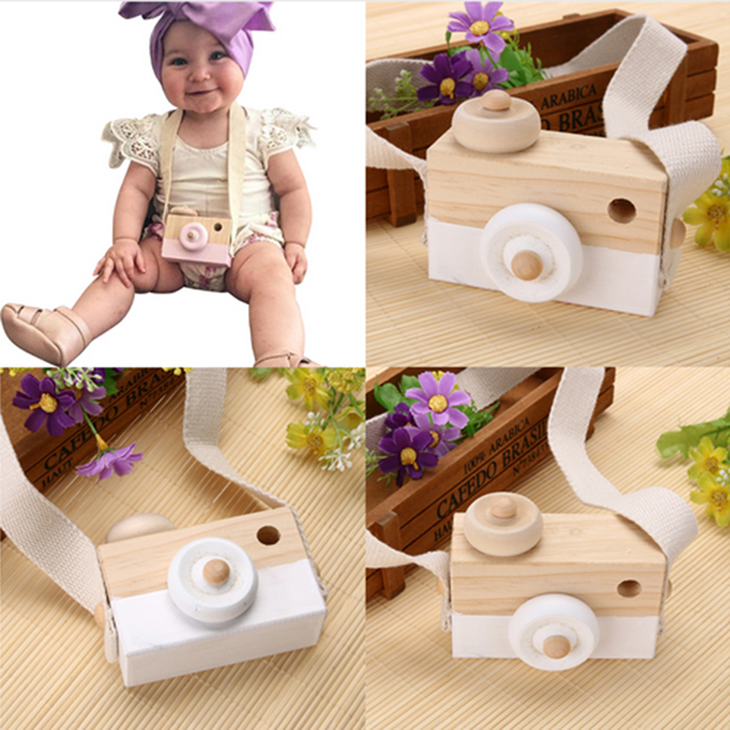 Mini Wooden Toy Camera Baby Kids Creative Neck Hanging Camera Photography Prop Decoration Children Playing House Decor Toy Gift